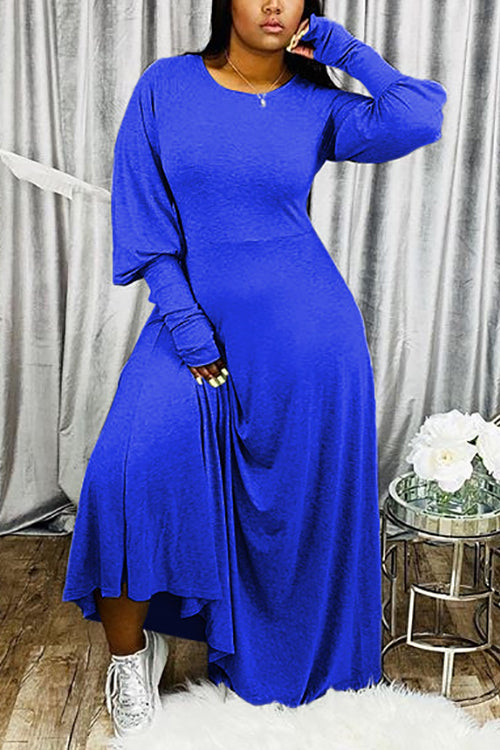 Solid Puff Long Sleeve Maxi Dress