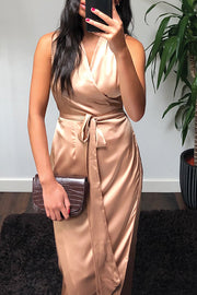 Deep V Neck Slit Belted Maxi Dress