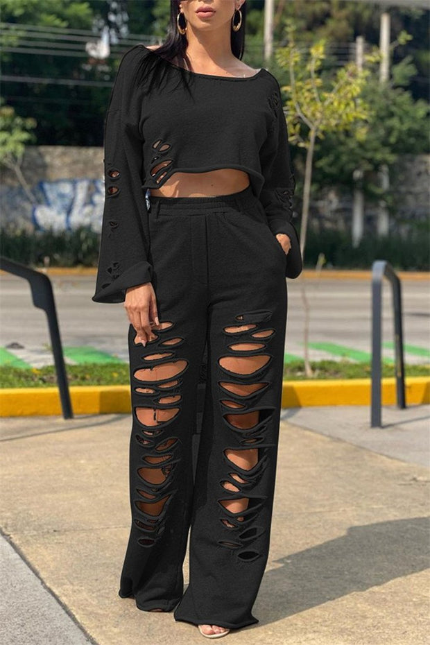 Hole Distressed Long Sleeve Two Piece Sets