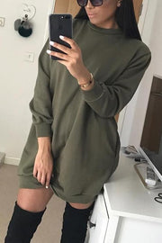 Simple Long Sleeve Hoodie Dress
