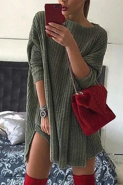 O Neck Side Slit Sweater Dress