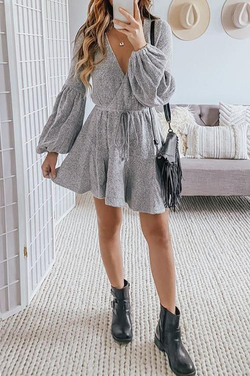 Puff Sleeve Drawstring Waist Mini Dress