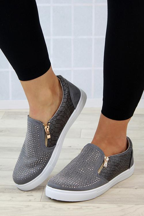 Rhinestone Zipper Slip On Flat Sneaker
