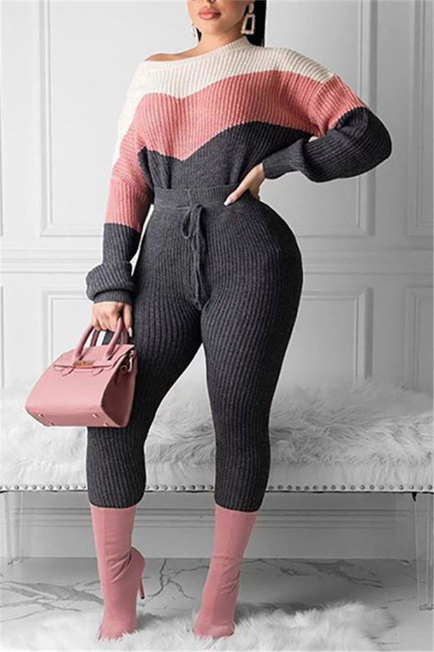 Color Block Long Sleeve Knitted Pants Set
