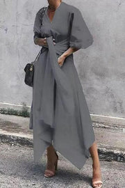 Solid Irregularity Wrap Dress