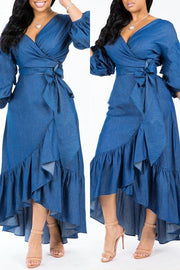 Ruffles Hem Bow Tie Maxi Dress