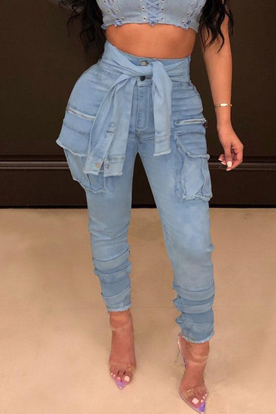 Pockets High Waist Lace Up Jeans