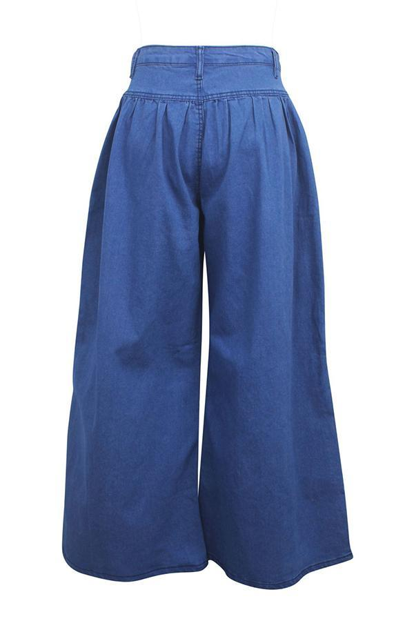 High Waist Drape Wide Leg Jeans