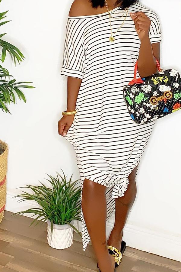 O Neck Striped Side Slit Dress