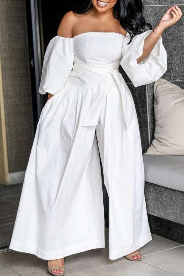 Strapless Puff Sleeve Wide Leg Jumpsuit