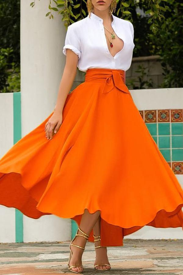 High Waist Pockets Bow Tie Skirts