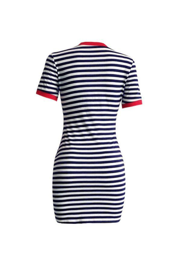 O Neck Striped Mini Dress