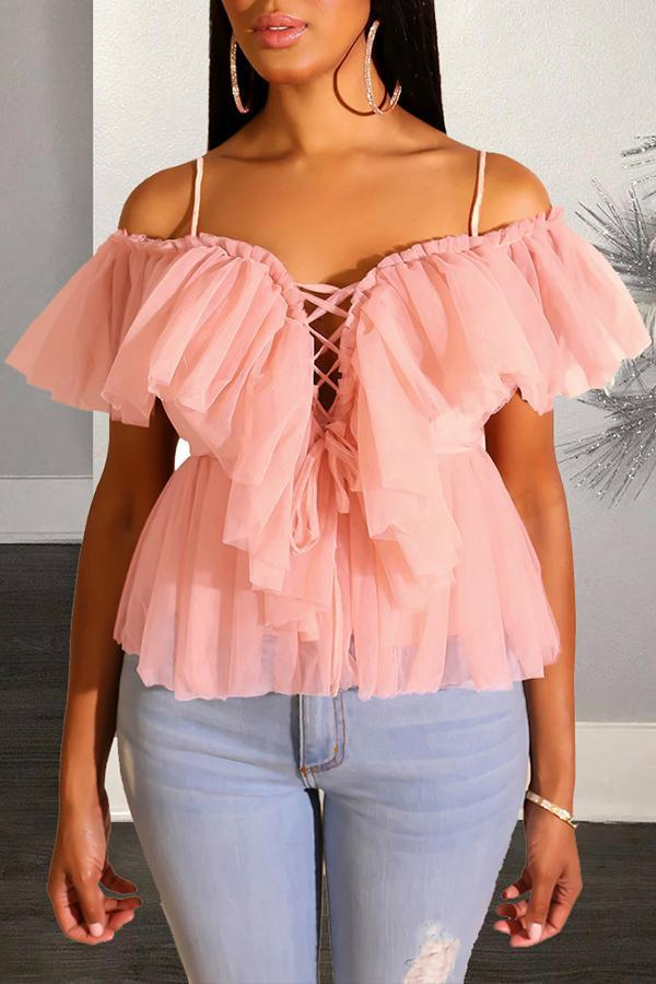 Off Shoulder Lace Up Layer Top