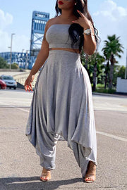 Strapless Loose Pants Set