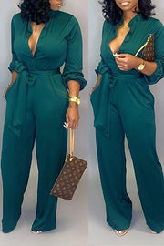 Pockets Button Belted Jumpsuit