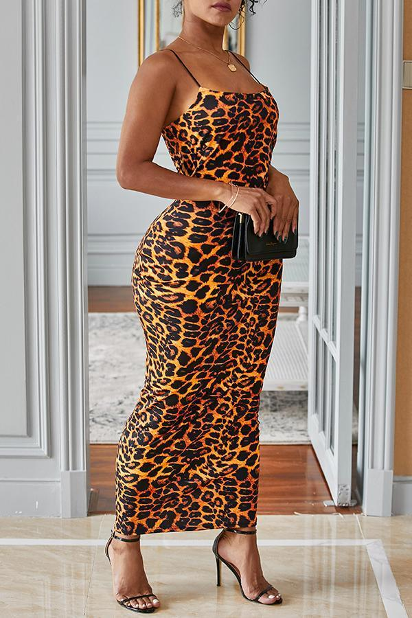 Leopard Bodycon Slip Dress