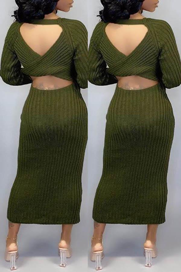 O Neck Cut Out Back Slim Dress