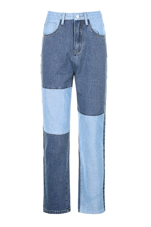 Color Block Straight-leg Jeans