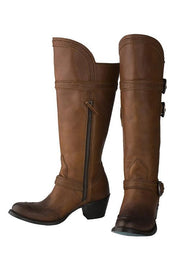 Leather Buckle High Boots