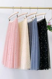 Star Moon A Line Mesh Skirts
