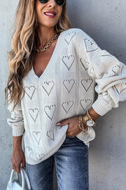 Heart Hollow V Neck Sweater
