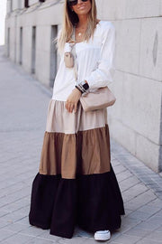 Color Block Layer Long Sleeve Maxi Dress