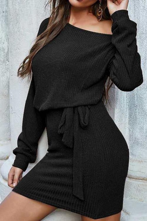 Dew Shoulder Long Sleeve Mini Dress
