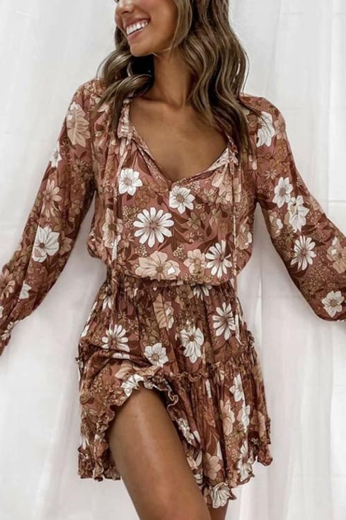 Ruffles Flroal Print Long Sleeve Mini Dress