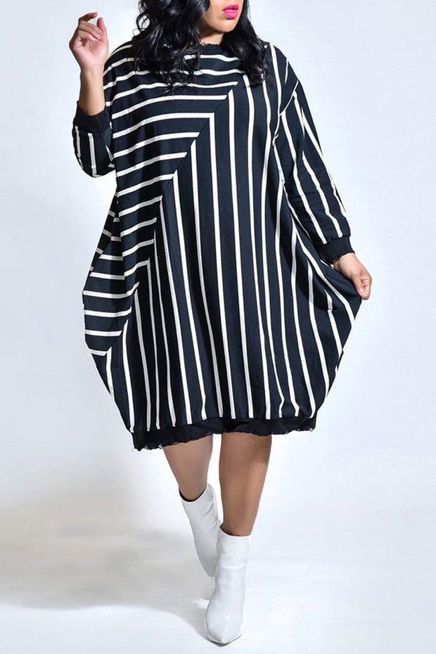 Stripe Patchwork Pocket Bat Dress