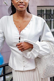Single Breasted Puff Sleeve Shirt