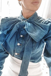 Puff Sleeve Bow Neck Denim Shirt