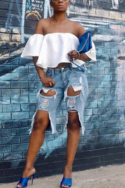 Ripped Mid Denim Shorts