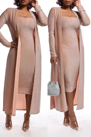 Silver Tissue Solid Color Dress Cardigan Set