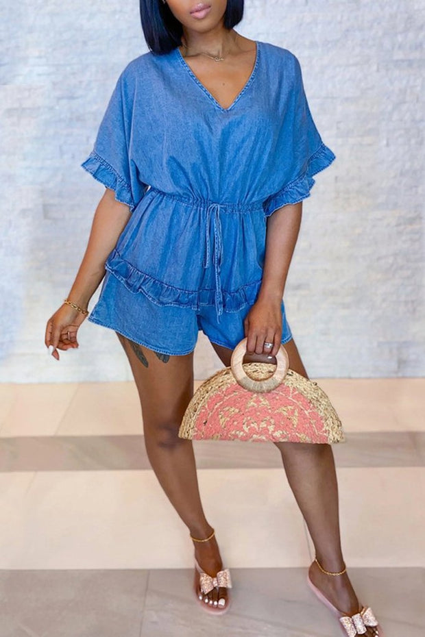 Denim V-Neck Ruffle Drawstring Romper