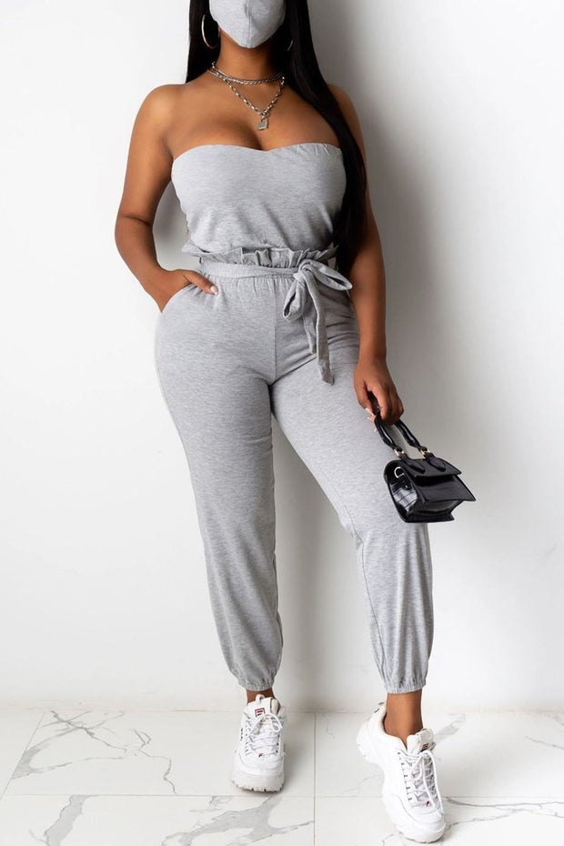 Strapped Belted Pants Set