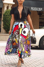 Cartoon Print Pleated Skirts