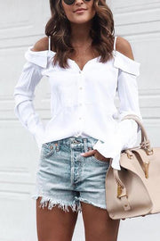 Button Off Shoulder Shirt