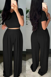 Solid Wide Leg Crop Pants Set