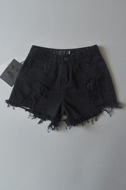 Ripped High Waist Denim Shorts