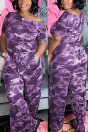 Camouflage Print Drawstring Waist Jumpsuit