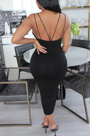 V Neck Open Back Bodycon Dress