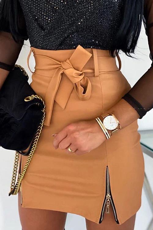Zipper Belted PU Skirts