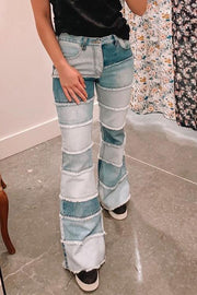 Patchwork High Waist Flares Jeans