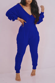 Deep V Neck Pocket Long Sleeve Jumpsuit