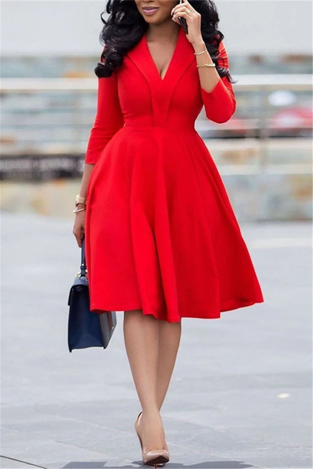 V Neck Long Sleeve A Line Dress