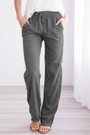 Drawstring Pockets Loose Pants