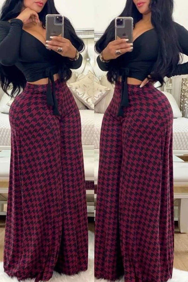 Lattice Solid Color Wide Leg Pants