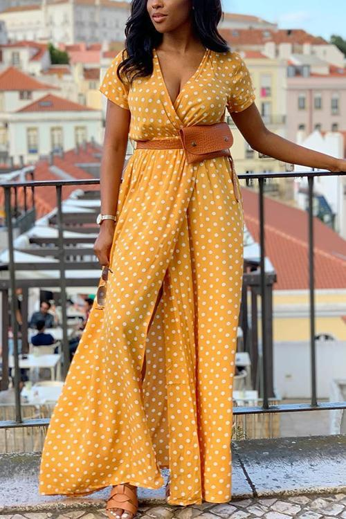 Dot Print Short Sleeve Wrap Maxi Dress