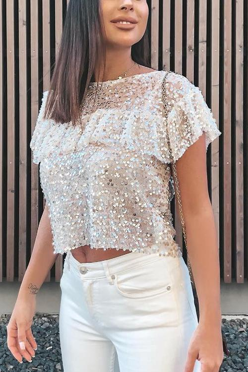 Sequin Ruffles Short Sleeve T Shirt