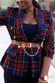 Button Plaid Blazer Woolen Coat